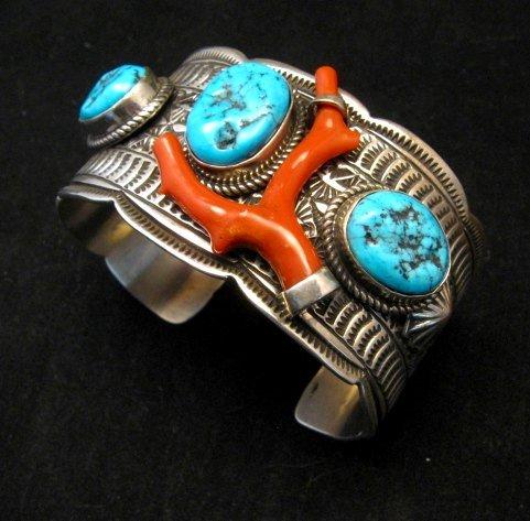 Image 3 of Navajo Sleeping Beauty Turquoise Coral Bracelet, Tillie Jon