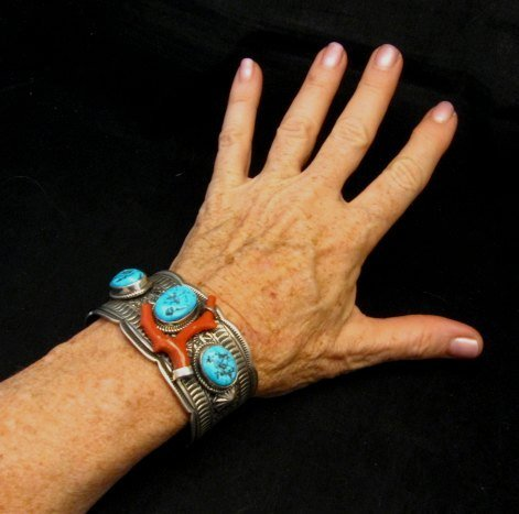 Image 6 of Navajo Native American Sleeping Beauty Turquoise Coral Bracelet, Tillie Jon