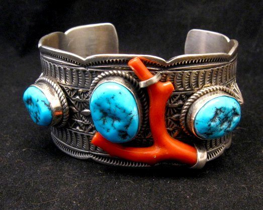 Image 1 of Navajo Sleeping Beauty Turquoise Coral Bracelet, Tillie Jon