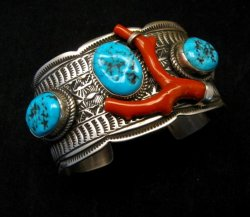 Navajo Native American Sleeping Beauty Turquoise Coral Bracelet, Tillie Jon