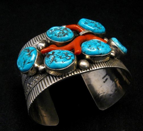Image 9 of Wide Navajo Native American Sleeping Beauty Turquoise Coral Bracelet, Tillie Jon
