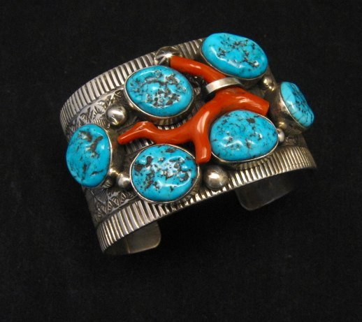 Image 0 of Wide Navajo Native American Sleeping Beauty Turquoise Coral Bracelet, Tillie Jon