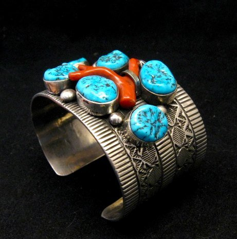 Image 4 of Wide Navajo Native American Sleeping Beauty Turquoise Coral Bracelet, Tillie Jon