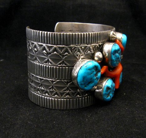 Image 5 of Wide Navajo Native American Sleeping Beauty Turquoise Coral Bracelet, Tillie Jon