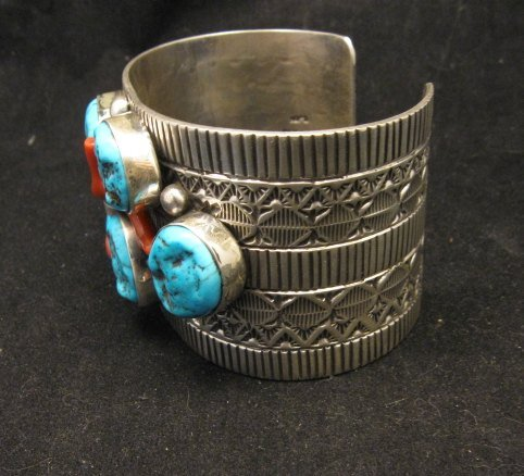 Image 6 of Wide Navajo Native American Sleeping Beauty Turquoise Coral Bracelet, Tillie Jon