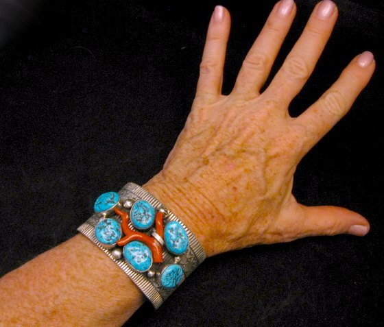 Image 7 of Wide Navajo Native American Sleeping Beauty Turquoise Coral Bracelet, Tillie Jon