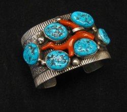 Wide Navajo Native American Sleeping Beauty Turquoise Coral Bracelet, Tillie Jon