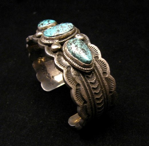 Image 2 of Navajo Indian Native American Turquoise Silver Bracelet, Joey Allen