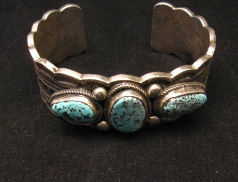Image 5 of Navajo Indian Native American Turquoise Silver Bracelet, Joey Allen