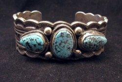Navajo Indian Native American Turquoise Silver Bracelet, Joey Allen