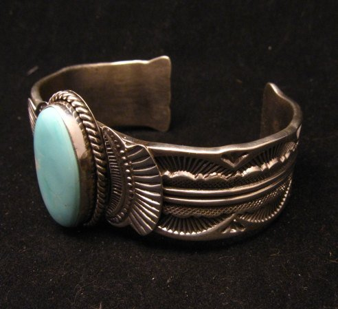 Image 2 of Navajo Native American Indian Royston Turquoise Sterling Bracelet Garret Hale