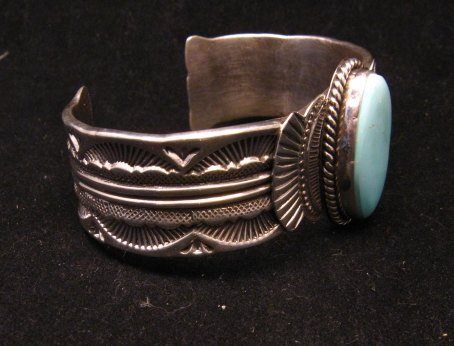 Image 3 of Navajo Native American Indian Royston Turquoise Sterling Bracelet Garret Hale