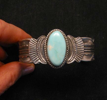 Image 5 of Navajo Native American Indian Royston Turquoise Sterling Bracelet Garret Hale