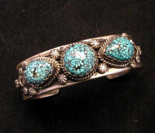 Image 0 of Navajo Native American Kingman Web Turquoise Bracelet, Gilbert Tom