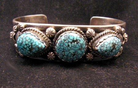 Image 1 of Navajo Native American Kingman Web Turquoise Bracelet, Gilbert Tom