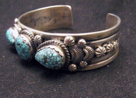 Image 2 of Navajo Native American Kingman Web Turquoise Bracelet, Gilbert Tom