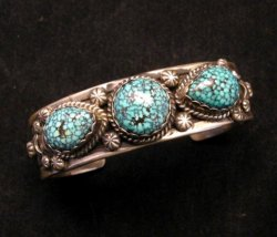 Navajo Native American Kingman Web Turquoise Bracelet, Gilbert Tom