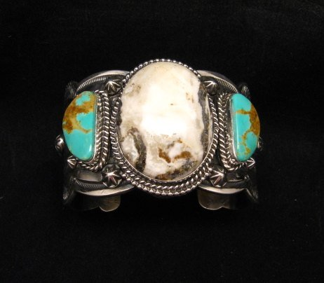 Image 0 of Navajo Old Pawn Style White Buffalo & Royston Turquoise Bracelet by Gilbert Tom