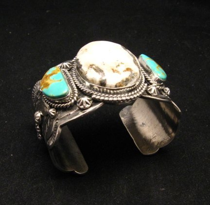 Image 7 of Navajo Old Pawn Style White Buffalo & Royston Turquoise Bracelet by Gilbert Tom