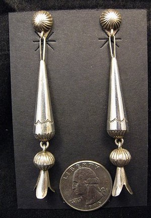Image 1 of Long Doris Smallcanyon Native American Navajo Silver Squash Blossom Earrings