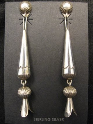 Image 3 of Long Doris Smallcanyon Native American Navajo Silver Squash Blossom Earrings