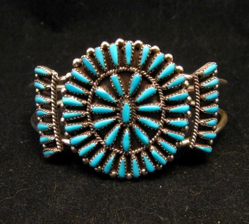 Image 0 of Zuni Indian Jewelry Turquoise Petitpoint Cluster Silver Bracelet, Judy Wallace
