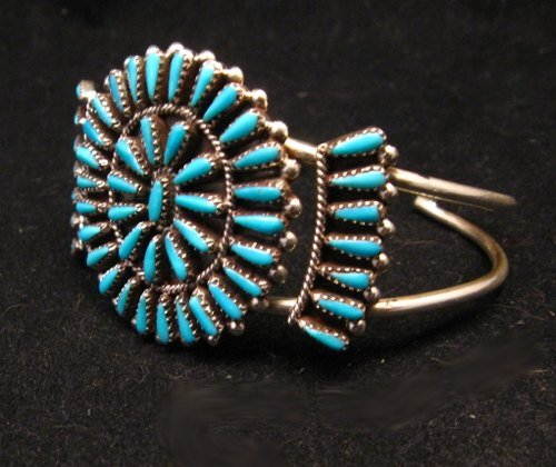 Image 1 of Zuni Indian Jewelry Turquoise Petitpoint Cluster Silver Bracelet, Judy Wallace