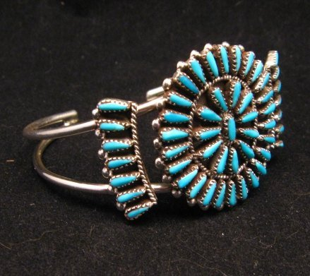 Image 2 of Zuni Indian Jewelry Turquoise Petitpoint Cluster Silver Bracelet, Judy Wallace
