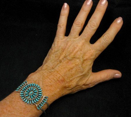 Image 3 of Zuni Indian Jewelry Turquoise Petitpoint Cluster Silver Bracelet, Judy Wallace