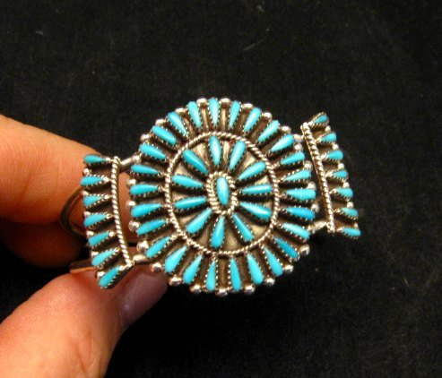 Image 4 of Zuni Indian Jewelry Turquoise Petitpoint Cluster Silver Bracelet, Judy Wallace