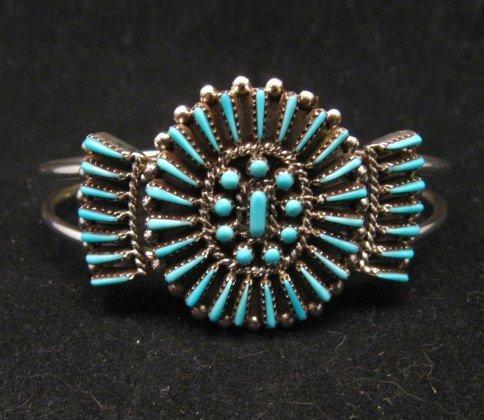 Image 0 of Zuni Petit Point Cuff Bracelet Shirley Lahi Sleeping Beauty Turquoise Cluster