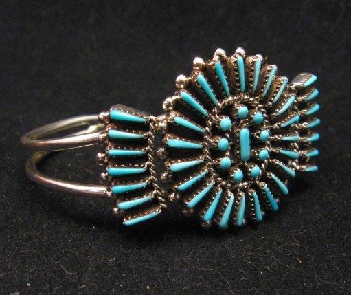 Image 1 of Zuni Petit Point Cuff Bracelet Shirley Lahi Sleeping Beauty Turquoise Cluster