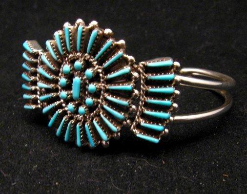 Image 2 of Zuni Petit Point Cuff Bracelet Shirley Lahi Sleeping Beauty Turquoise Cluster