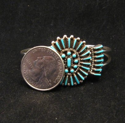 Image 3 of Zuni Petit Point Cuff Bracelet Shirley Lahi Sleeping Beauty Turquoise Cluster
