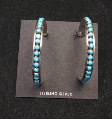 Image 3 of Big Zuni Sleeping Beauty Turquoise Sterling Silver Hoop Earrings, Lois Tzuni