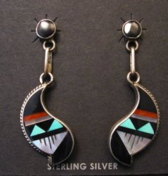 Pawn Zuni Multi Inlay Dangle Earrings Native American Delberta Boone