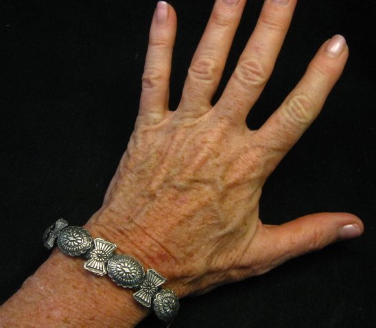 Image 1 of Dead Pawn Navajo Sterling Silver Stamped Concho Bracelet