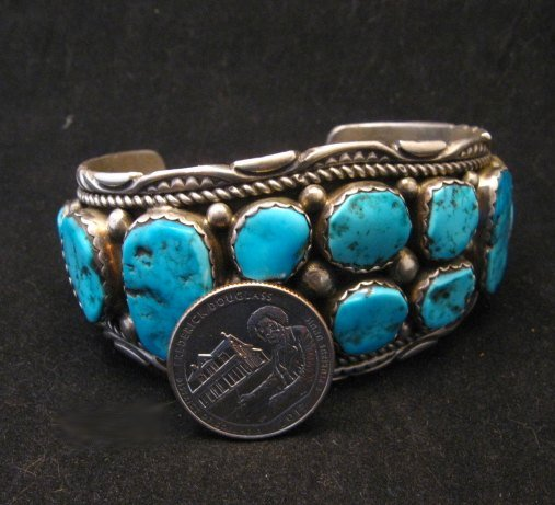 Image 3 of Quality Dead Pawn Native American Navajo Turquoise Cuff Bracelet