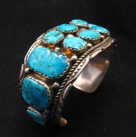 Image 6 of Quality Dead Pawn Native American Navajo Turquoise Cuff Bracelet