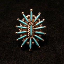 Zuni Indian Jewelry Turquoise Needlepoint Ring sz9 Cordelia & Lance Waatsa