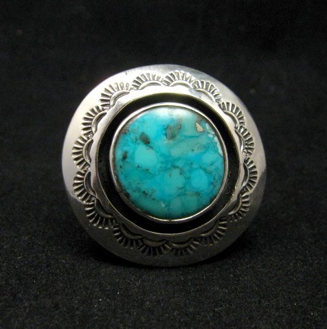 Image 0 of Everett & Mary Teller Navajo Kingman Turquoise ShadowBox Ring sz9
