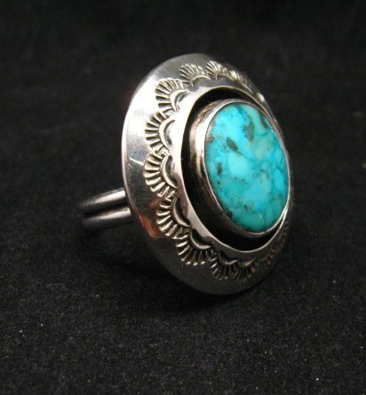 Image 1 of Everett & Mary Teller Navajo Kingman Turquoise ShadowBox Ring sz9