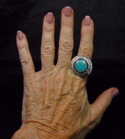 Image 2 of Everett & Mary Teller Navajo Kingman Turquoise ShadowBox Ring sz9