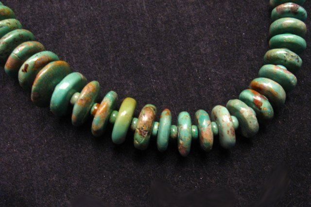 Image 3 of Navajo Turquoise Bead Necklace by Everett & Mary Teller