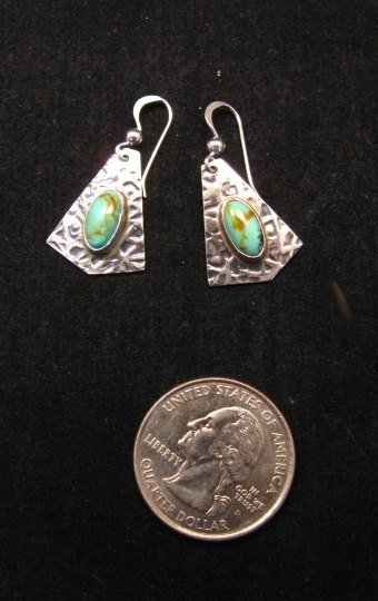 Image 1 of Navajo Everett & Mary Teller Turquoise Hammered Silver Earrings