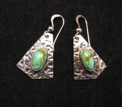 Navajo Everett & Mary Teller Turquoise Hammered Silver Earrings
