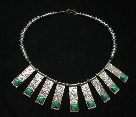 Image 8 of Navajo Everett & Mary Teller Turquoise Hammered Silver Necklace