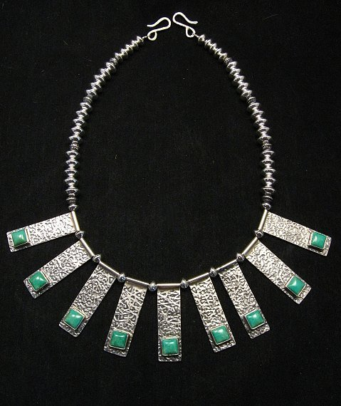 Image 1 of Navajo Everett & Mary Teller Turquoise Hammered Silver Necklace