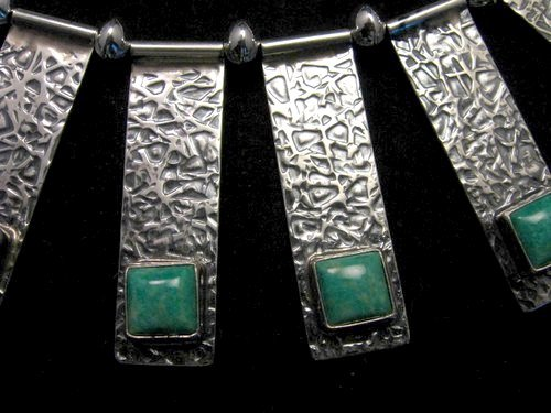Image 7 of Navajo Everett & Mary Teller Turquoise Hammered Silver Necklace