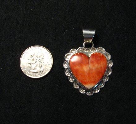 Image 2 of Navajo Everett & Mary Teller Spiny Oyster Silver Heart Pendant